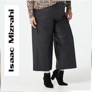 Isaac Mizrahi Faux Leather Culotte Pants - 18W